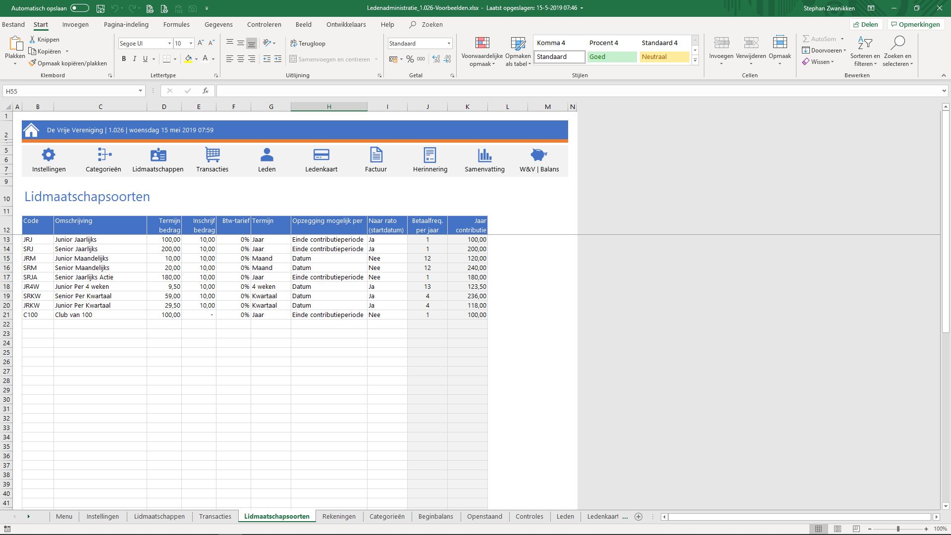 Stap 1. Instellingen aanpassen in Ledenadministratie in Excel