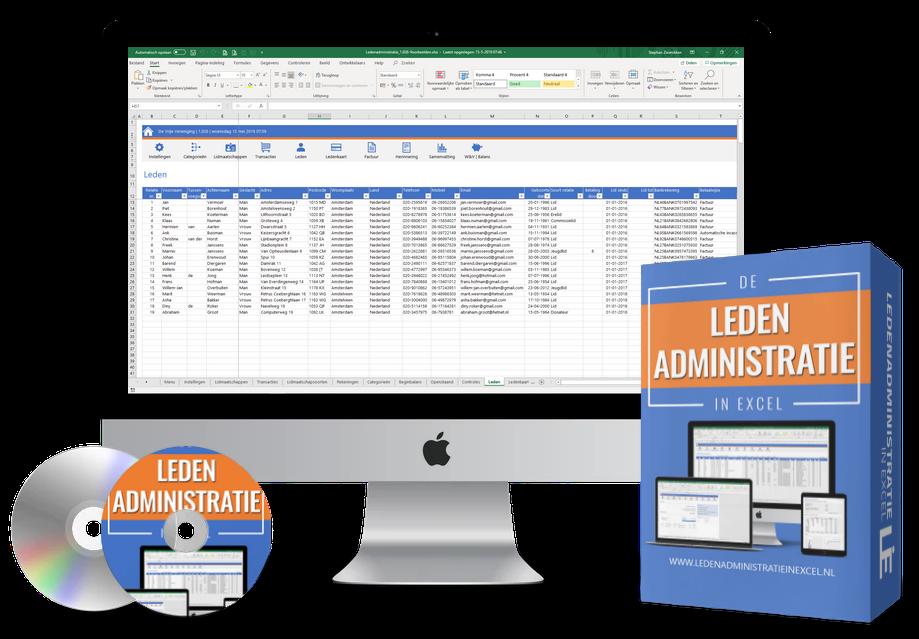 Ledenadministratie in Excel - simpele ledenregistratie en boekhouding in één